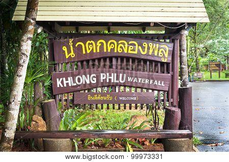 Welcome Sign At Klong Plu Waterfall, Koh Chang, Thailand