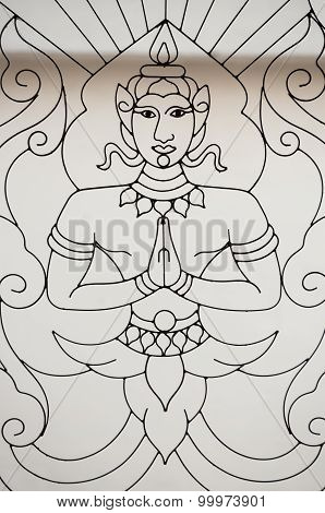 Buddha Design In Window At Wat Suan Dok, Chiang Mai, Thailand