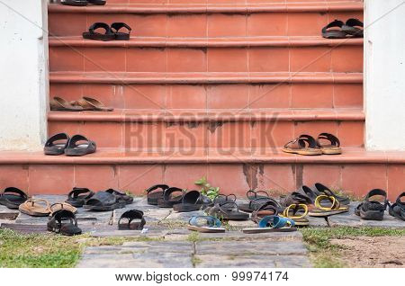 Shoes Left On Temple Steps, Thailand