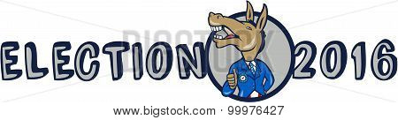 Election 2016 Democrat Donkey Mascot Cartoon