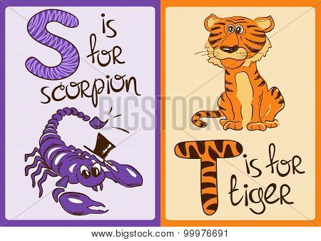 Children Alphabet With Funny Animals Scorpion And Tiger.