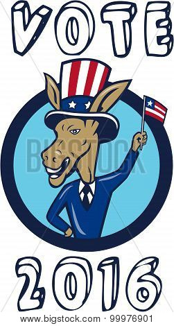 Vote 2016 Democrat Donkey Mascot Flag Circle Cartoon