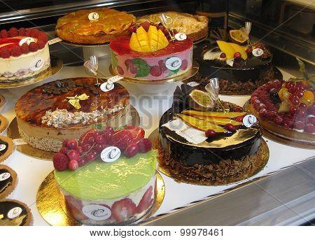 Sweet cakes on display