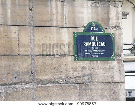Rue Rambuteau street sign