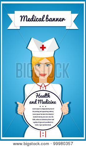 Stylish Vector banner for health services. Frame for text. Girl holding banner.