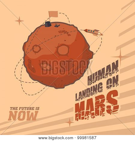 Vintage Space Postcard Of Human Landing On Mars