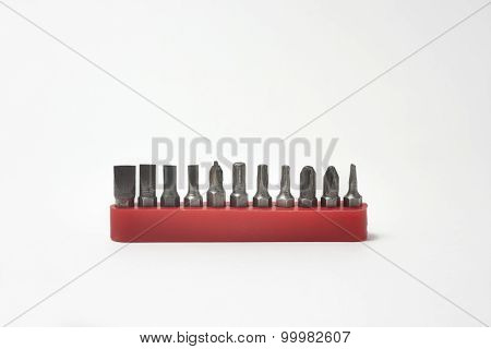 Set Of Steel Screwdrivers With Tools On A White Background