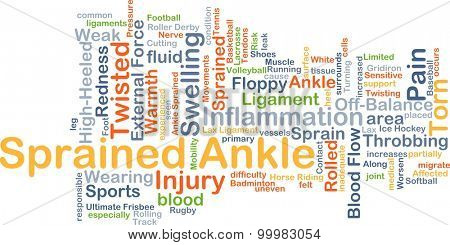 Background concept wordcloud illustration of sprained ankle