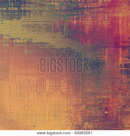 Abstract grunge background with retro design elements and different color patterns: yellow (beige); brown; green; red (orange) yellow (beige); brown; green; red (orange)
