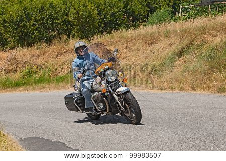 Biker riding Moto Guzzi California II
