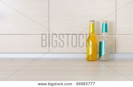 Bottles Of Drink On Kitchen Countertop