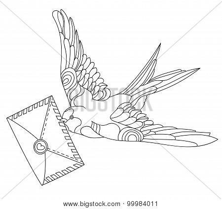 Swallows doodle on white background.