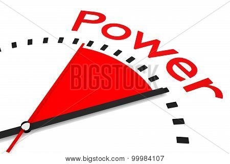 Clock With Red Seconds Hand Area Power Illustration