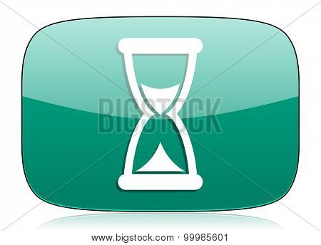 time green icon hourglass sign