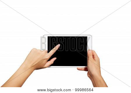 Woman Hands Holding Contemporary Generic Tablet Pc With Blank Screen. Isolated On White Background.