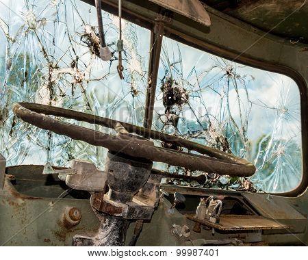 Smashed Truck Window Inside