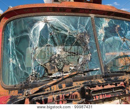 Smashed Truck Window Outside