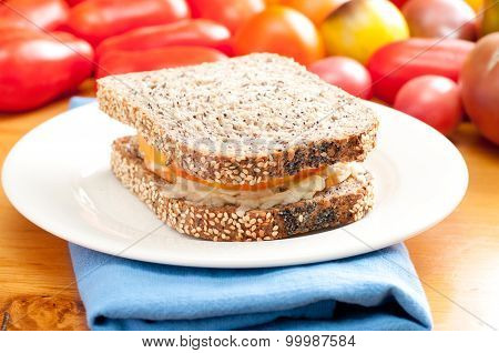 Flax And Sunflower Seed Bread With Heirloom Tomato And Cheese