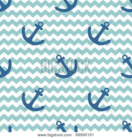 Tile sailor vector pattern with anchor on white and blue stripes background