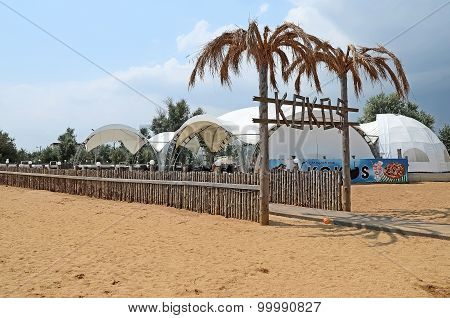 Entrance To The Nightclub Kokos On The Beach In Kerch