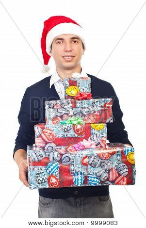 Smiling Man Holding Christmas Gifts