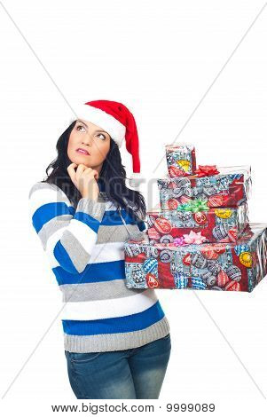 Thinking Woman With Christmas Gifts