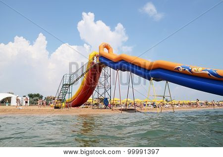 Water Slide At The Beach In Kerch