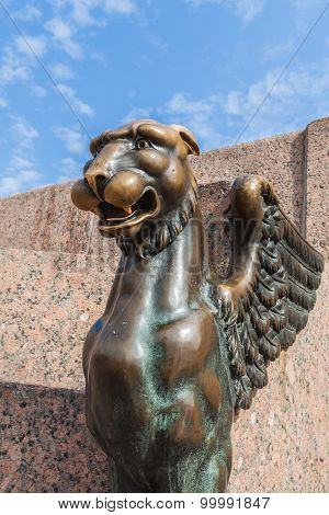 Griffon On A Embankment Of The Neva River In St. Petersburg