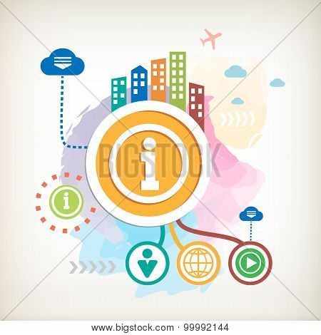Info Icon And City On Abstract Colorful Watercolor Background