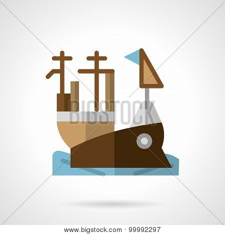 Aircraft carrier flat color vector icon