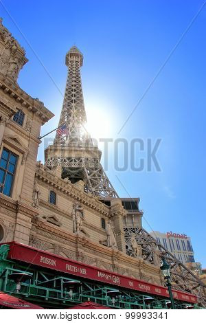 Las Vegas, Usa - March 19: Replica Of The Eiffel Tower At Paris Palace Hotel And Casino On March 19,