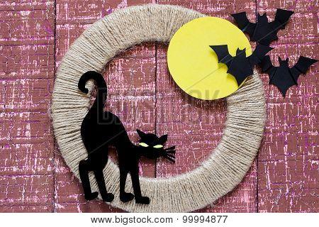Halloween Characters: Black Cat And Bats