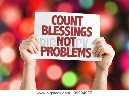Count Blessing Not Problems card with bokeh background