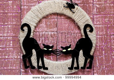 Designs For Halloween: Two Black Cat And Spider On Jute Ring