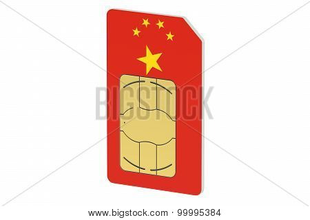 Sim Card With Flag Of China