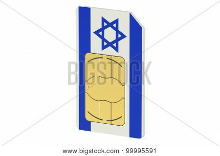Sim Card With Flag Of Israel