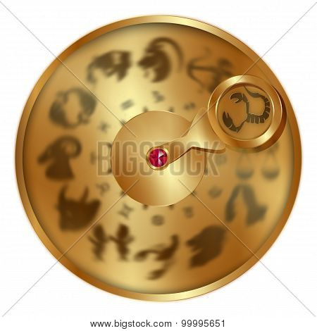 Scorpio On A Golden Disk