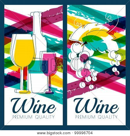 Vector Illustration Of Wine Bottle, Glass, Branch Of Grape And Colorful Watercolor Stripes Backgroun