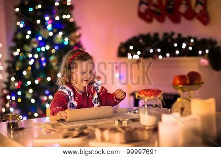 Little Girl Baking Christmas Pastry.