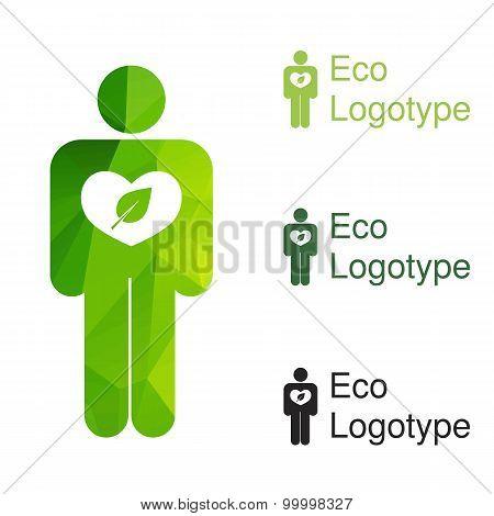 Green Ecology Logo Or Icon, Nature Logotype Of Hum