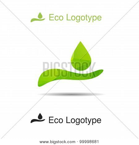 Ecology Logotype From Hand With Drop