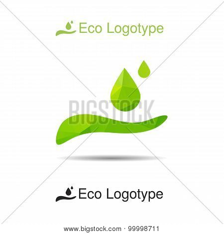 Ecology Logotype From Hand With Drops