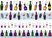 stock photo of alcoholic beverage  - Four Border Designs of Various Drinks - JPG