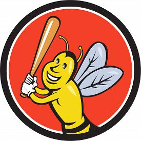 foto of bat  - Cartoon style illustration of a killer bee baseball player smiling holding bat batting viewed from the front set inside circle on isolated background - JPG