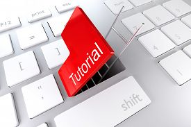 stock photo of underpass  - computer keyboard with red enter key hatch underpass ladder tutorial - JPG